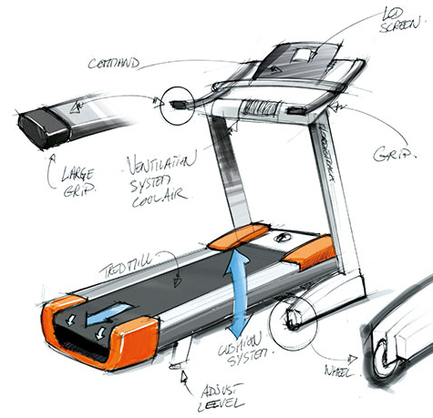 Technical Drawing of a Treadmill